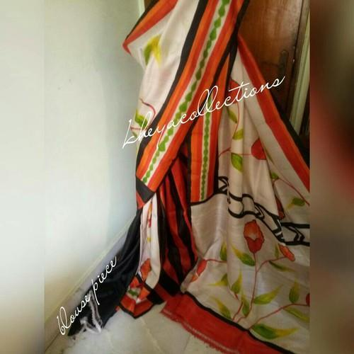 Hand Painted Murshidabad Silk Sarees