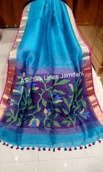 Jamdani Muslin Pallu Linen Silk Sarees 01