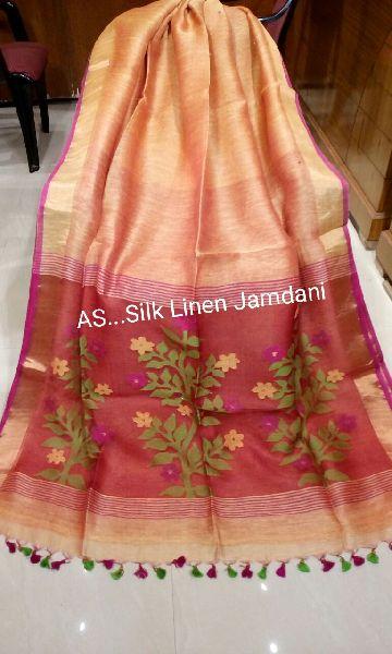 Jamdani Muslin Pallu Linen Silk Sarees 02