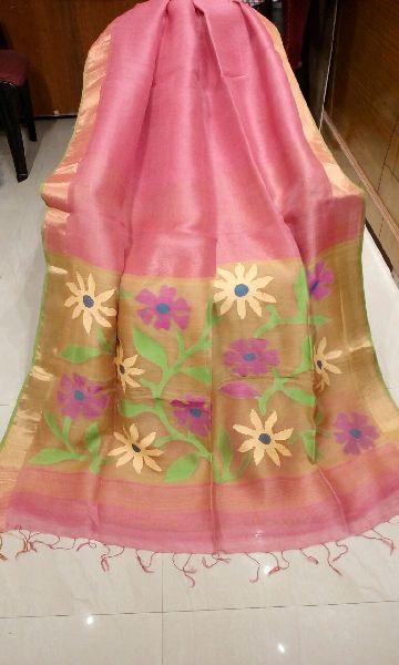 Jamdani Muslin Pallu Linen Silk Sarees 03