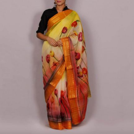 Hand Painted Handloom Cotton Saree 02