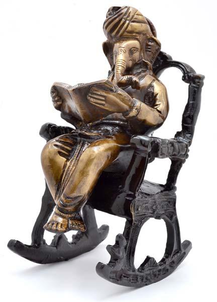 Brass On Chair Ganesha Statue
