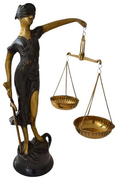 Brass Goddess Of Justice Statue