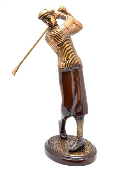 Brass Golfer Statue