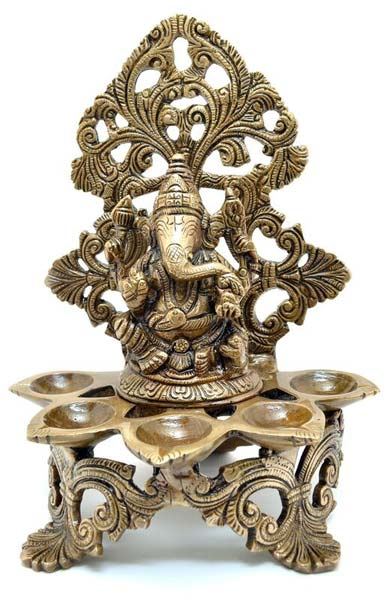Brass Panchdeep Ganesha Carving Diya