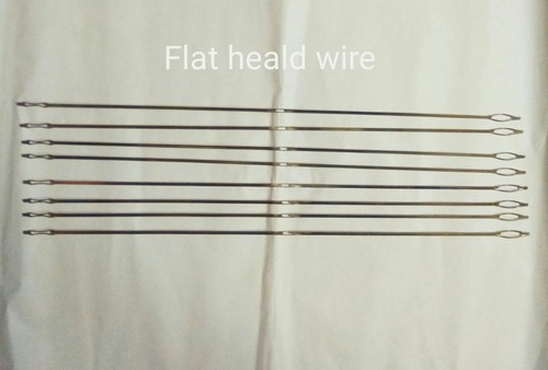 Flat wire heald for weaving loom