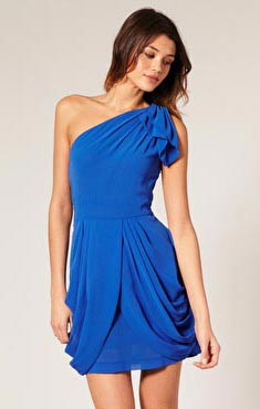 Blue One Shoulder One Piece Dress