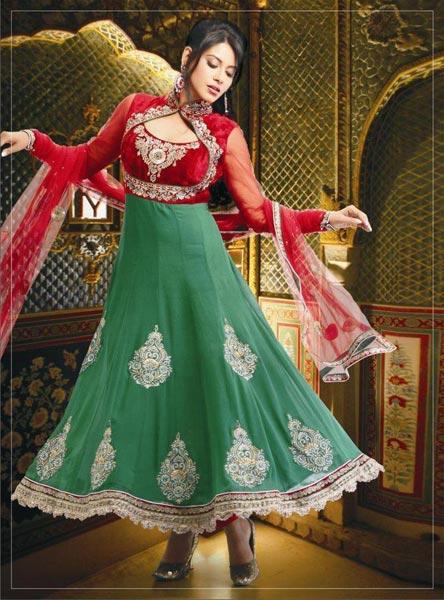 Green & Red Chudidar Suit
