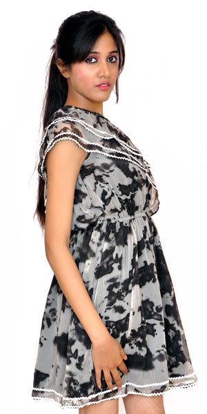 Printed One Shoulder One Piece Dress