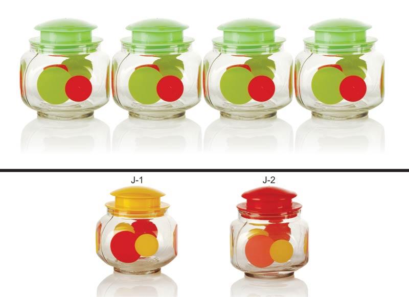 4 Piece Glass Jar Set