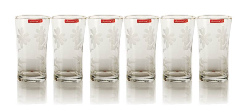 6 Pieces Glass Printed Water Tumbler