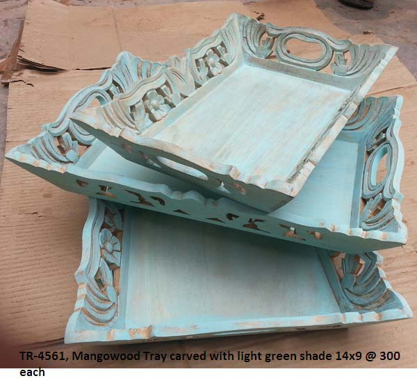Mango Wood Carved Green Trays