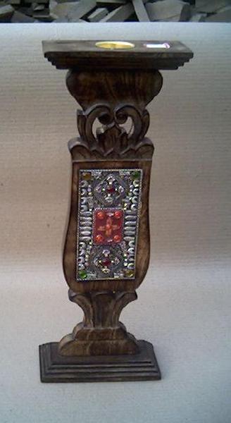 Wooden Pillar Candle Holder 01