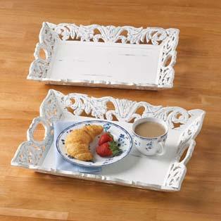 Mango Wood Carved White Trays
