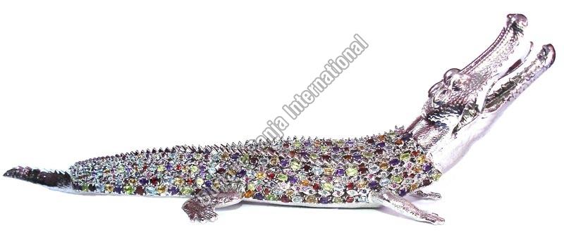 Silver Crocodile Statue
