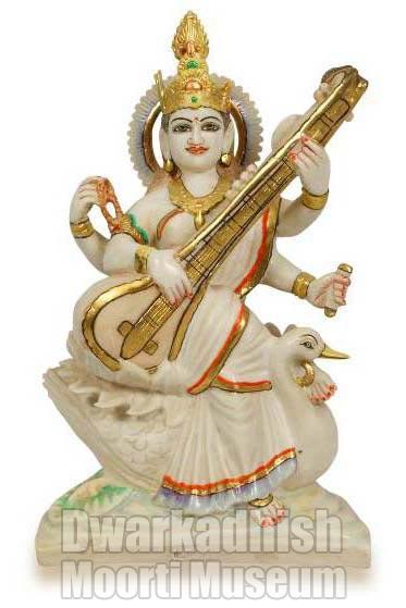 Cultural Marble Saraswati Statue 01