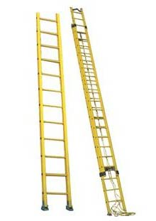 Wall Supported Fiberglass Ladder & Wall Supported Fiberglass Extension Ladder