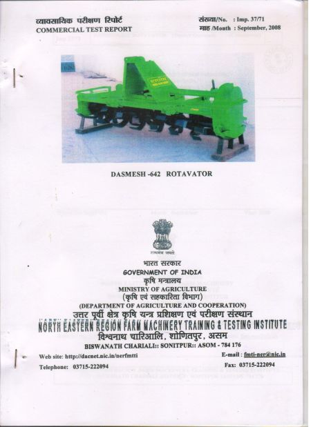 Test Report Agricultural Rotavator 642 (Tested by Govt. of India Ministry of Agriculture)