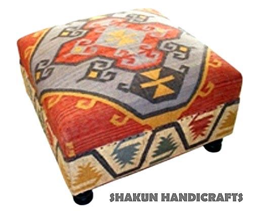 Wool Jute Kilim  Pouf Ottoman (Item Code : PBWJ1632)