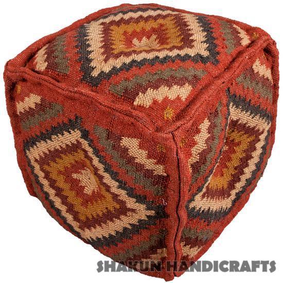 Wool Jute Kilim Poufs