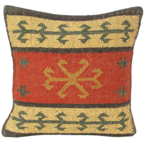 Wool Jute Kilim Cushion (Item Code : CUWJ0055)