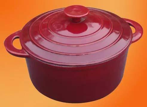 Red Round Enameled Cast Iron Casserole Dish Pot