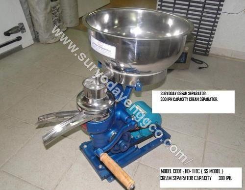 300 LPH Hand and Motor Driven Cream Separator Machine