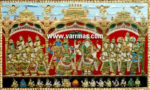 Girija Kalyanam Tanjore Painting (10324)