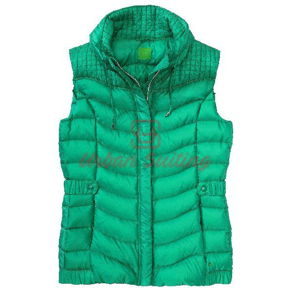Down Body Warmer with Band Collar Jacket