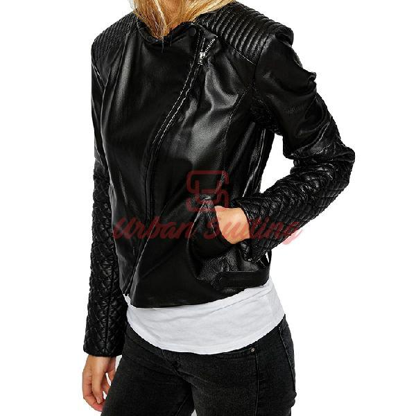 Biker Leather Assyemtric Mixed Quilted