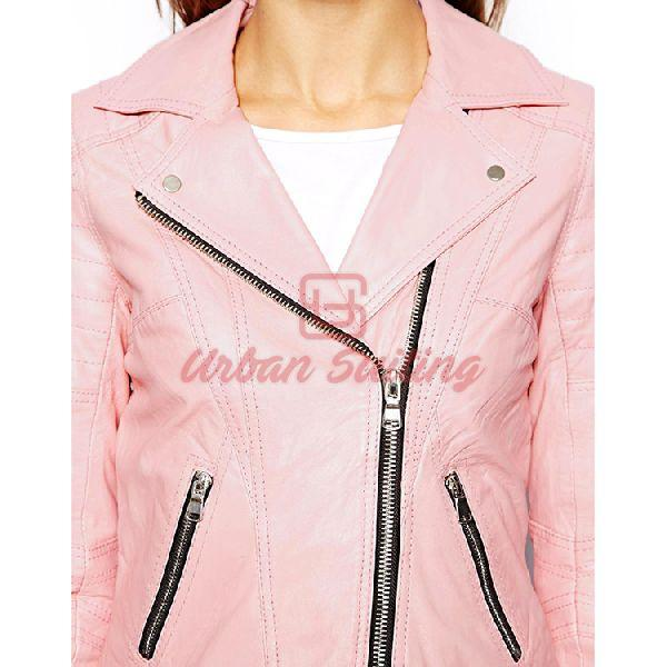 Pink Biker Ladies Leather Jacket