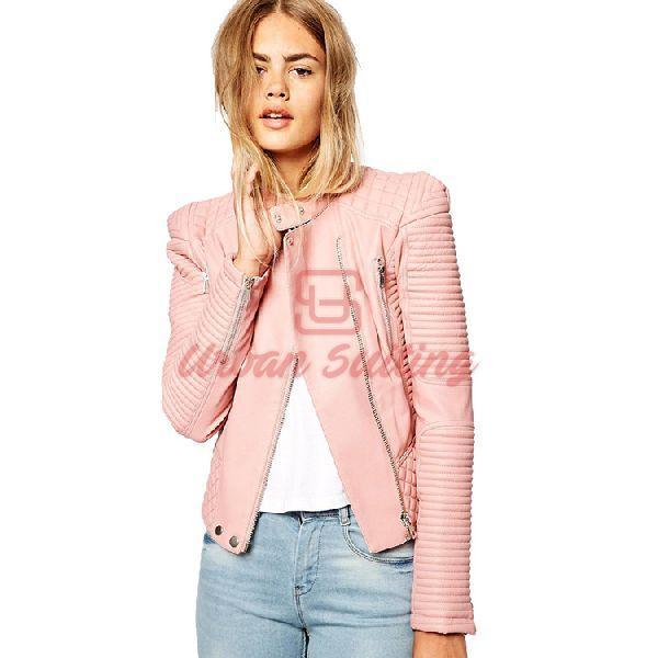 Structured Shoulder Pink Leather Jacket