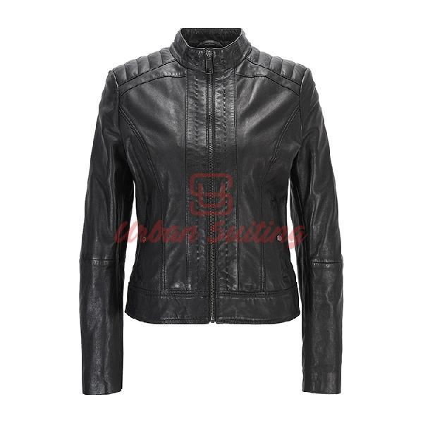 Lightweight Slim Fit Leather Jacket Lining Black