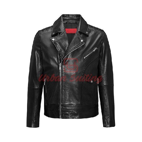 Asymmetric Biker Jacket in Buffalo Nappa Leather