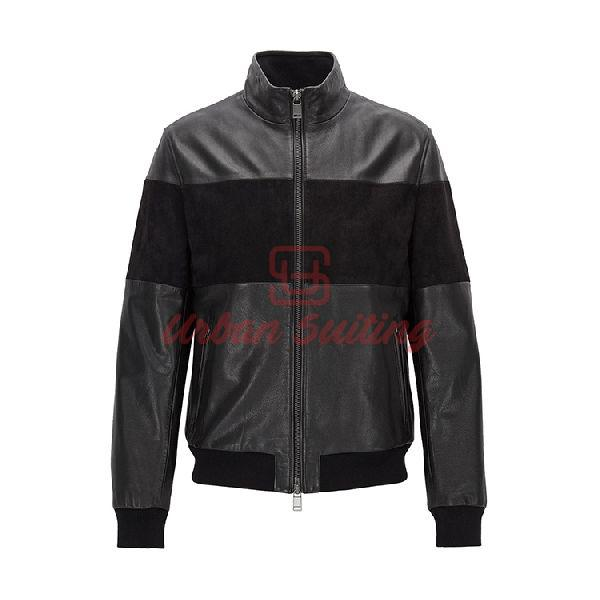 Regular Fit Hybrid Jacket in Leather and Suede