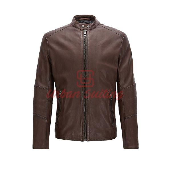 Slim Fit Jacket in Treated Leather