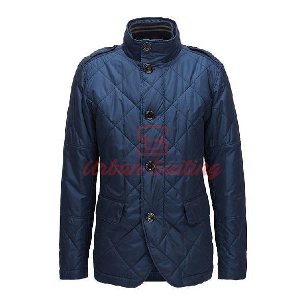 Regular Fit Jacket in Water Repellent Fabric Blue