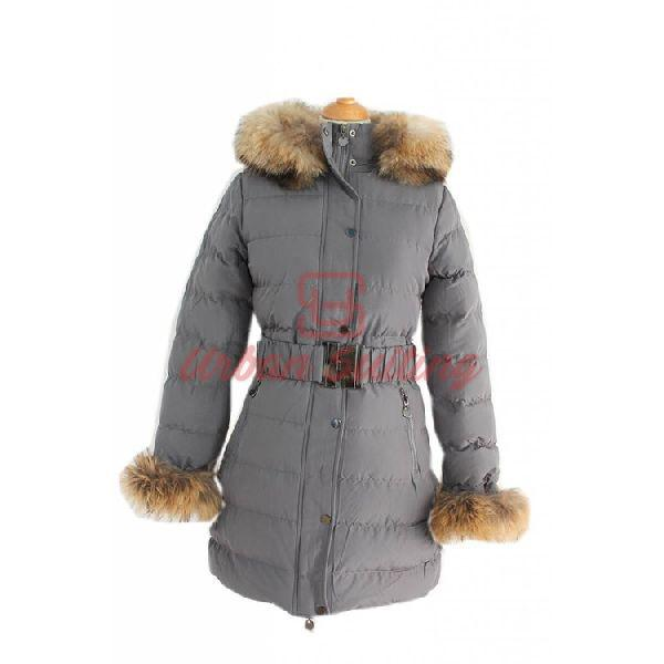 Ladies Grey Fur Textile Jacket