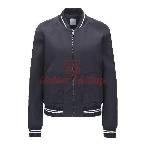 Water Repellent Bomber Jacket with Striped Ribbing