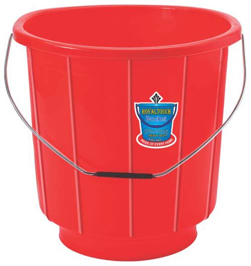 201 Red Plastic Striped Bucket