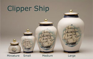 Clipper Ship Pottery Ashes Urn