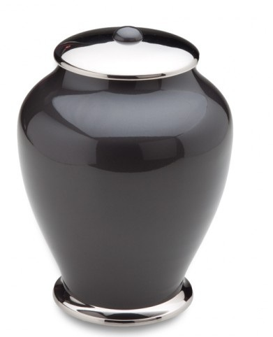 Elegant Black And Silver Brass Urn