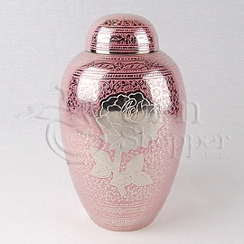 Rose Pink Brass Metal Cremation Urn