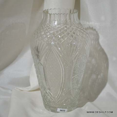 Clear Cut Glass Flower Vase