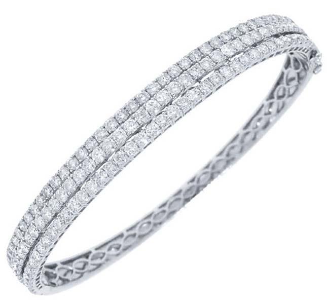 Diamond White Gold Bangle (CWDWGB243)