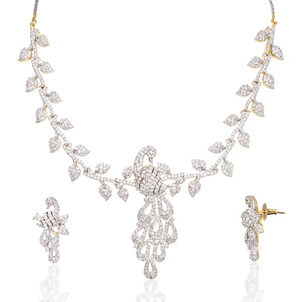 Silver CZ Necklace Set (CWCZNS272)