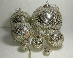 Beaded Worked Mercury Glass Ornament