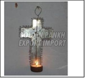 Handmade Wirework Cross Tea Light Candle