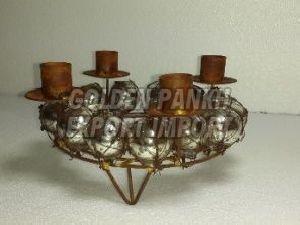 Mercury Glass Wreath Wire Work Candle Holder