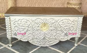 INDIAN WHITE METAL SILVER CONSOLE TABLE